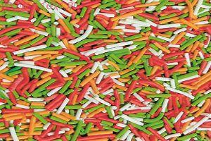 Вермишель Микс №4 (бело-оранжево-красно-зелёный) 50 гр.