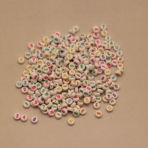 `Бусины с цифрами 7 мм, толщина 3мм, цвет МИКС, Арт. Р-БС1111