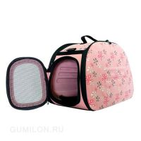Складная сумка-переноска в цветочек для животных до 6 кг
