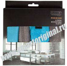 Smart Microfiber Комплект салфеток Премиум 4 шт 32 х 31 см бирюза, серые серия Premium