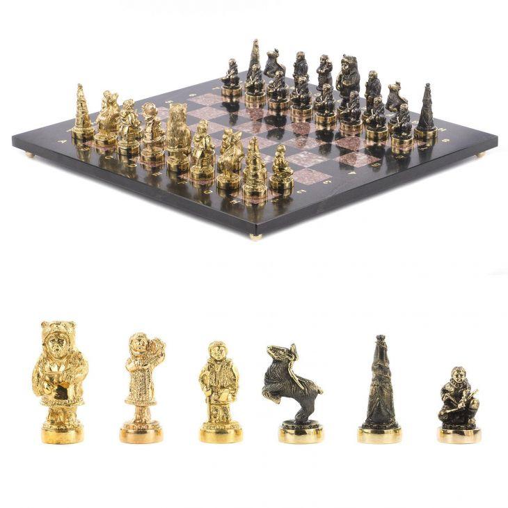 Шахматы Северные народы, креноид, змеевик, бронза