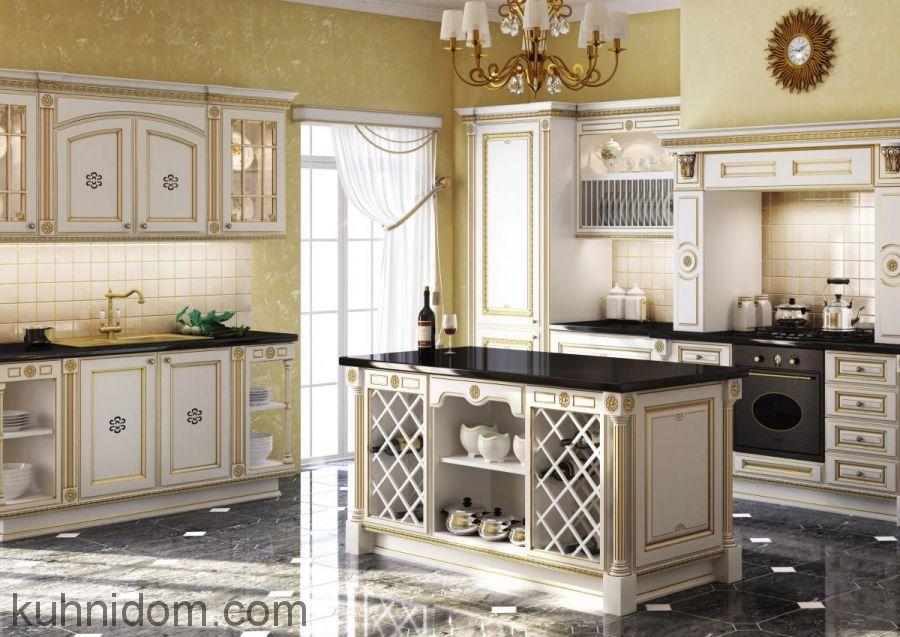 Кухня Афина Оро Белая с золотой патиной