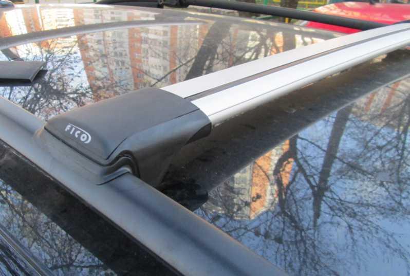 Багажник на рейлинги Chevrolet Niva, FicoPro R-54, серебристый, крыловидные аэродуги
