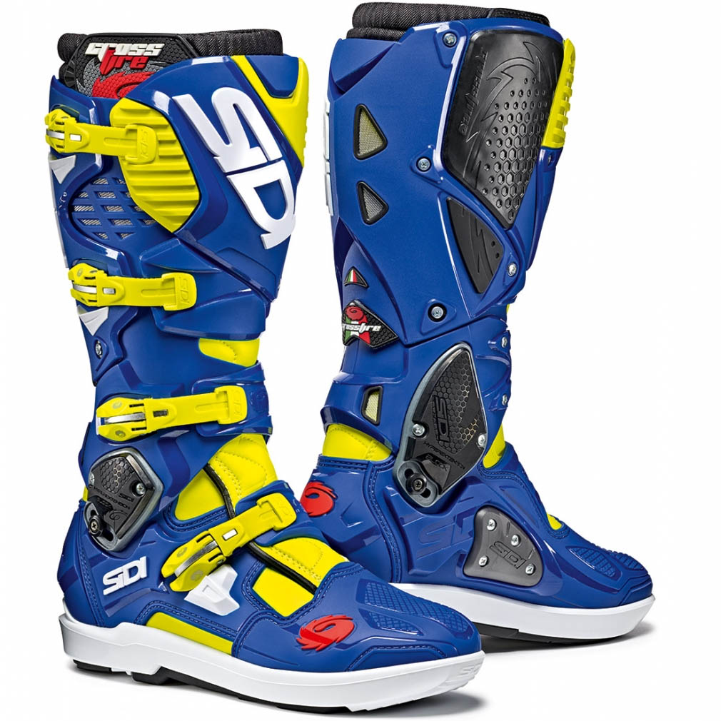 Sidi - Crossfire 3 SRS Yellow Fluo/Blue мотоботы, жёлто-синие