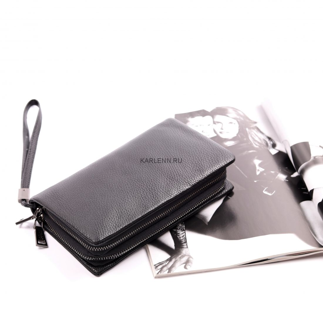 Вместительный мужской клатч KARLENN (66232 черный)