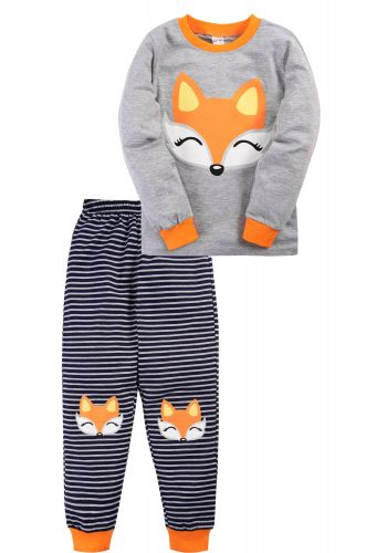 Пижама для девочки 3-7 лет Bonito BK976PJ серая, лисёнок