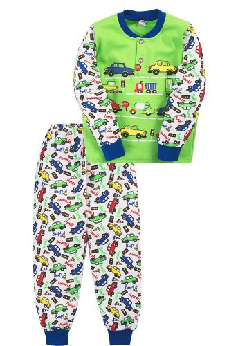 Пижама для мальчика 2-5 лет Bonito BK3003PJ зеленая, cars