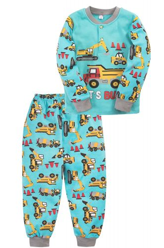 Пижама для мальчика 2-5 лет Bonito BK3003PJ бирюза, грузовики