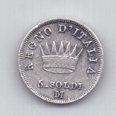 5 сольди 1813 года AUNC Наполеон I Италия Франция