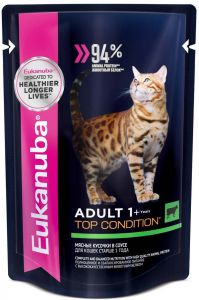 EUK Cat паучи корм для взрослых кошек с говядиной в соусе 85 гр.