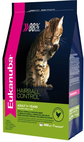 EUK Cat HAIRBALL корм для вывода шерсти из желудка с домашней птицей для кошек