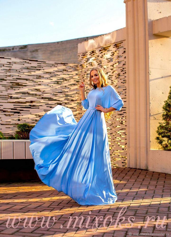 Голубое платье с запахом двустороннее