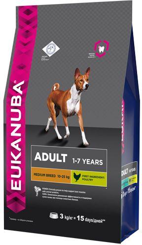 EUK Dog корм для взрослых собак средних пород