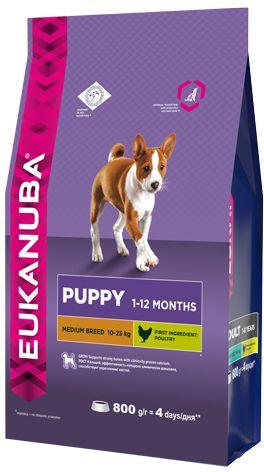 EUK Dog корм для щенков средних пород