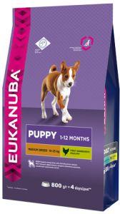 EUK Dog корм для щенков средних пород 800 г