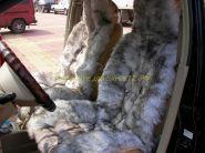 """Меховая накидка (чехол) на сидение """"Серая"""" из натурального меха Лисы и Австралийской овцы"""