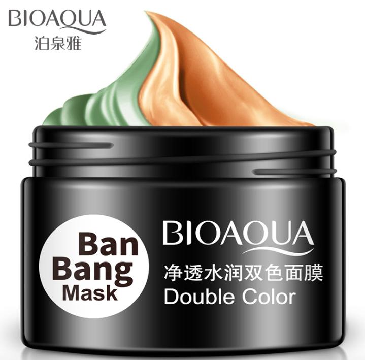 Двойная маска для ухода, очищение и матирование Т-зоны и подтяжка овала лица, Bioaqua Ban Bang Double Color, 100 гр.