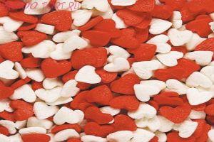 Посыпка  Сердечки красно-белые 50 гр.
