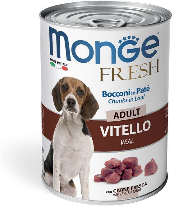Monge Dog Fresh Chunks in Loaf консервы для собак мясной рулет телятина 400 гр.