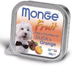 Monge Dog Fruit консервы для собак утка с апельсином 100г