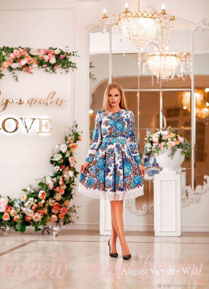 Платье из платка с цветами