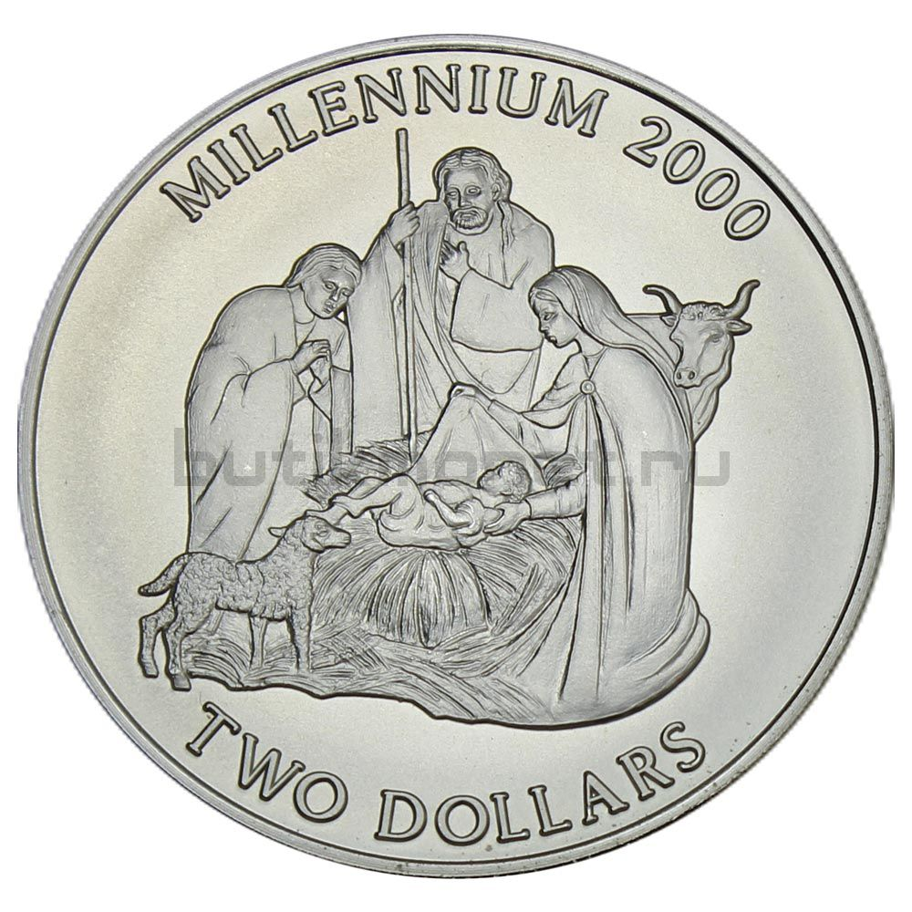 2 доллара 2000 Багамы Миллениум