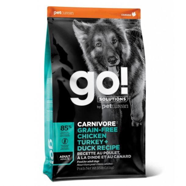 Корм сухой GO CARNIVORE GF беззерновой для взрослых Собак всех пород 4 вида мяса: Индейка, Курица, Лосось, Утка 1,6 кг