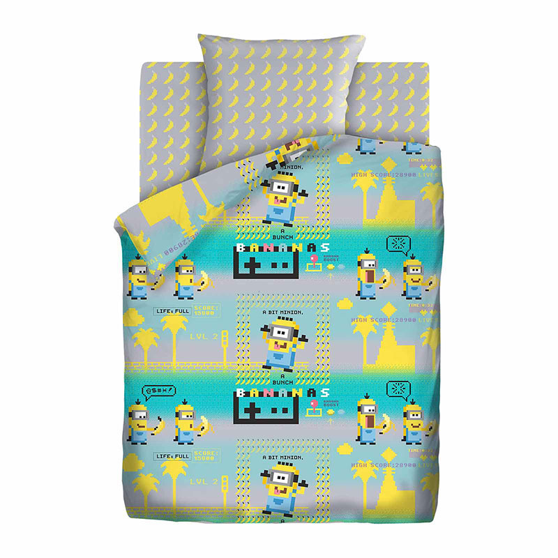 """Детское постельное белье """"Пиксели"""", рис.16143-16144 (Миньоны), 1.5сп."""