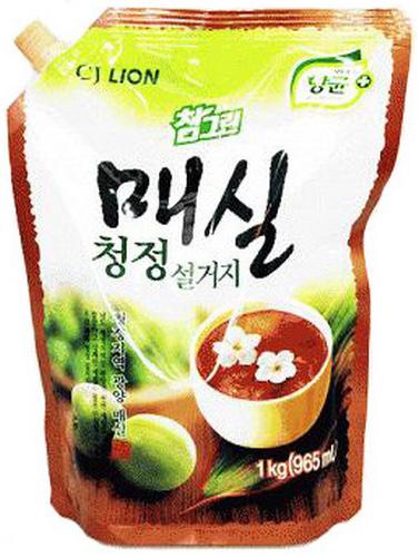CJ Lion Средство для посуды, фруктов, овощей Chamgreen Японский абрикос мягкая упаковка 960 г