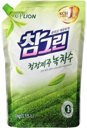 CJ Lion Средство для посуды, фруктов, овощей Chamgreen Зелёный чай мягкая упаковка 1200 г