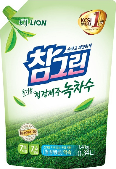 CJ Lion Средство для мытья посуды Chamgreen с ароматом зелёного чая мягкая упаковка 1340 мл