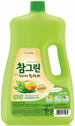 CJ Lion Средство для мытья посуды, фруктов, овощей Chamgreen Зелёный чай флакон 2970 мл