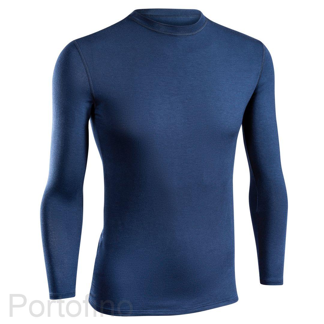 Футболка Daitres Синяя Длинный рукав Круглый вырез