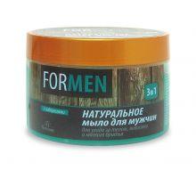 """Натуральное мыло для мужчин для ухода за телом, волосами и мягкого бритья """"3 в 1"""", 450г Ф-40"""