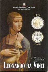 500 лет со дня смерти Леонардо да Винчи  Италия 2019 набор из 2 монет 1 евро + 2 евро BU