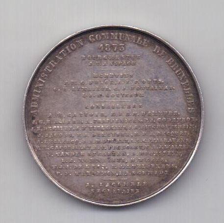 медаль 1873 года AUNC Брюссель Бельгия