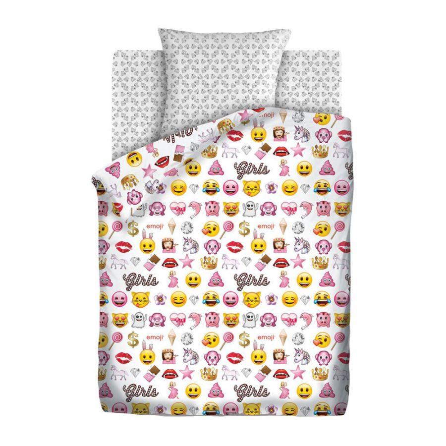 """Детское постельное белье """"Смайлы пинк"""", рис.8908+8909 (Emoji), 1.5сп."""