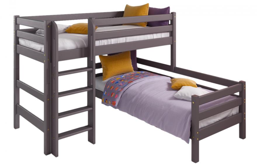 """Вариант 7 Угловая кровать """"Соня"""" Лаванда с прямой лестницей МебельГрад"""