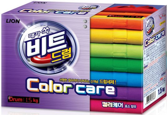 CJ Lion Концентрированный стиральный порошок Beat Drum Color Care защита цвета для цветного белья для автоматической стирки коробка 1,5 кг