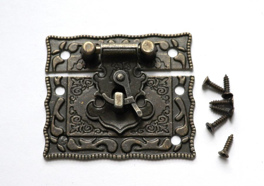 Замок накладка для шкатулок, 42*50 мм, бронза