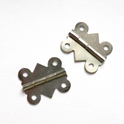 Петля для шкатулки ажурная, никель, 25*20 мм, 2 шт/уп