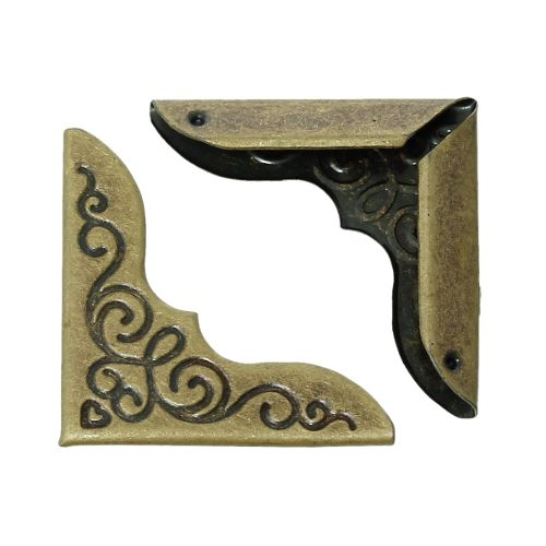 Уголок для обложки вензель, бронза, 25*25 мм, 4 шт/упак