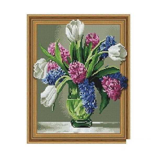 Набор 3D мозаика Гиацинты с тюльпанами с рамкой 40*50см