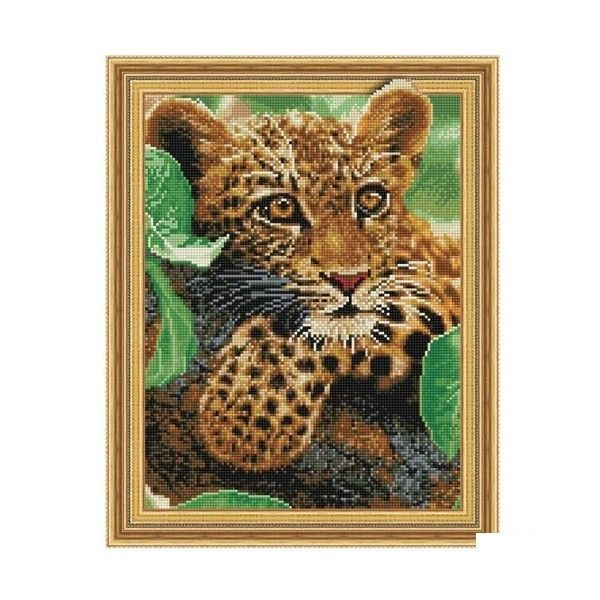 Набор 3D мозаика Леопард с рамкой 40*50см