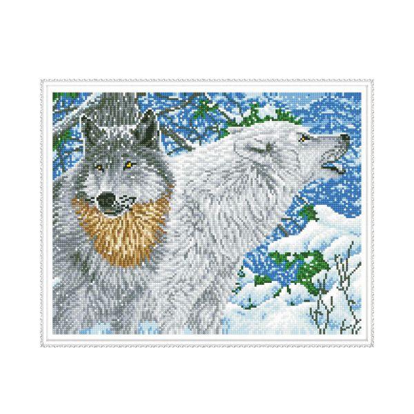 Набор Алмазная мозаика Северные волки с рамкой 40*50 см