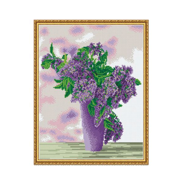 Набор Алмазная мозаика Сиреневый букет с рамкой 40*50 см