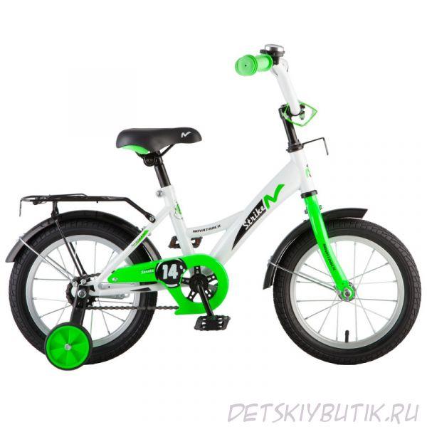 """Велосипед детский NOVATRACK TETRIS 14"""" (2018), белый+зеленый"""