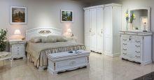Спальня ЛАУРА белый с золотой патиной 4-дверный шкаф