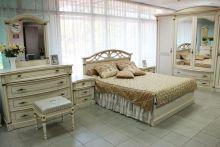 Спальня ЭЛЕГАНЦА слоновая кость с золотой патиной 4-дверный шкаф