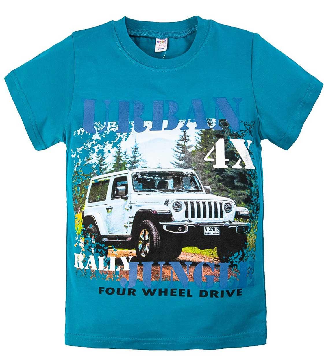 Бирюзовая футболка для мальчика с принтом Rally 4X